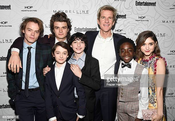 Actors Charlie Heaton Joe Keery Noah Schnapp Finn Wolfhard Matthew Modine Caleb McLaughlin and Natalia Dyer attend the Entertainment Weekly...