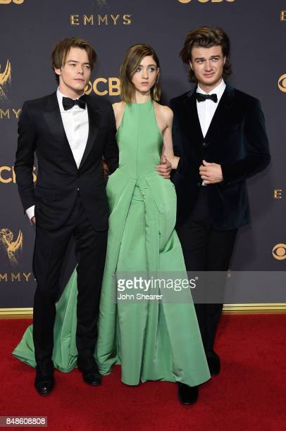 Actors Charlie Heaton Natalia Dyer and Joe Keery attend the 69th Annual Primetime Emmy Awards at Microsoft Theater on September 17 2017 in Los...