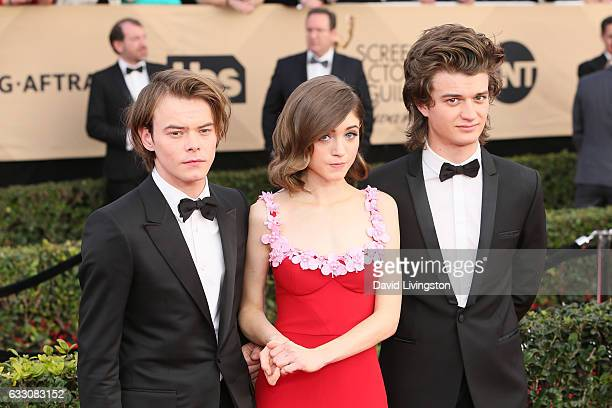 Actors Charlie Heaton Natalie Dyer and Joe Keery attend the 23rd Annual Screen Actors Guild Awards at The Shrine Expo Hall on January 29 2017 in Los...