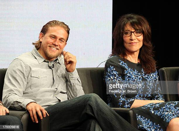 Actors Charlie Hunnam and Katey Sagal speak onstage during the 'Sons of Anarchy' panel discussion at the FX portion of the 2013 Summer Television...