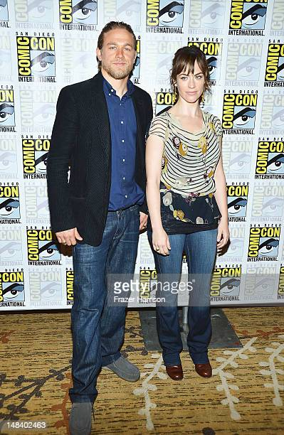 Actors Charlie Hunnam and Maggie Siff attend 'Sons of Anarchy' press line during ComicCon International 2012 at Hilton San Diego Bayfront Hotel on...