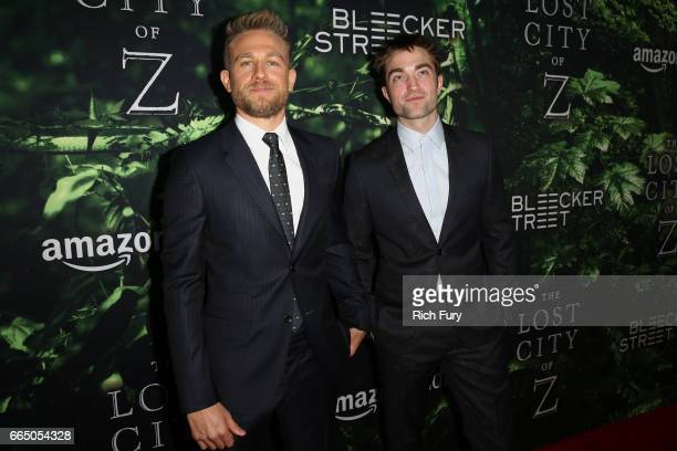 Actors Charlie Hunnam and Robert Pattinson attend the premiere of Amazon Studios' 'The Lost City Of Z' at ArcLight Hollywood on April 5 2017 in...