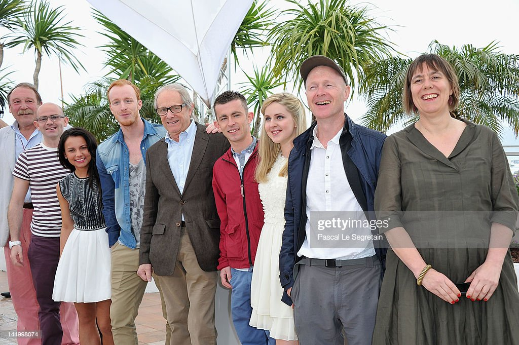 Actors Charlie Maclean, Gary Maitland,Jasmin Riggins, William Ruane, Director <a gi-track='captionPersonalityLinkClicked' href=/galleries/search?phrase=Ken+Loach&family=editorial&specificpeople=233467 ng-click='$event.stopPropagation()'>Ken Loach</a>, actor Paul Brannigan, Siobhan Reilly, writer Paul Laverty and producer Rebecca O'Brien pose at the 'The Angels' Share' photocall during the 65th Annual Cannes Film Festival at Palais des Festivals on May 22, 2012 in Cannes, France.