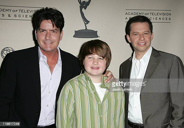 Actors Charlie Sheen Angus T Jones and Jon Cryer attend An Evening with Two and a Half Men held at The Leonard Goldenson Theater on February 27 2008...