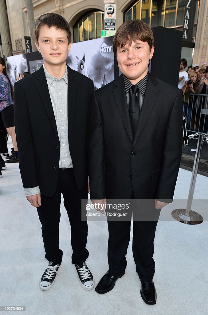 Actors Charlie Tahan and Robert Capron arrive at Disney's 'Frankenweenie' premiere at the El Capitan Theatre on September 24, 2012 in Hollywood, California.