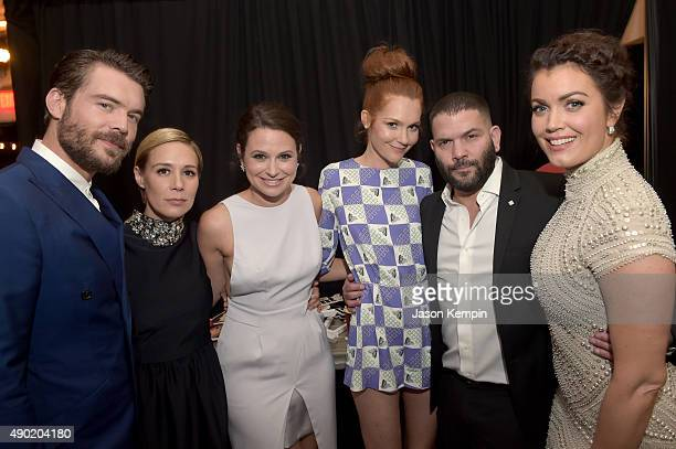 Actors Charlie Weber Liza Weil Katie Lowes Darby Stanchfield Guillermo Diaz and Bellamy Young attend the Celebration of ABC's TGIT Lineup presented...