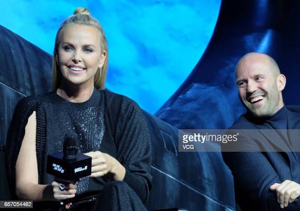 Actors Charlize Theron and Jason Statham attend the press conference of director F Gary Gray's film 'The Fate of the Furious' on March 23 2017 in...
