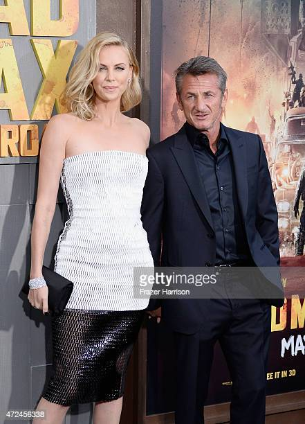 Actors Charlize Theron and Sean Penn attend the premiere of Warner Bros Pictures' 'Mad Max Fury Road' at TCL Chinese Theatre on May 7 2015 in...