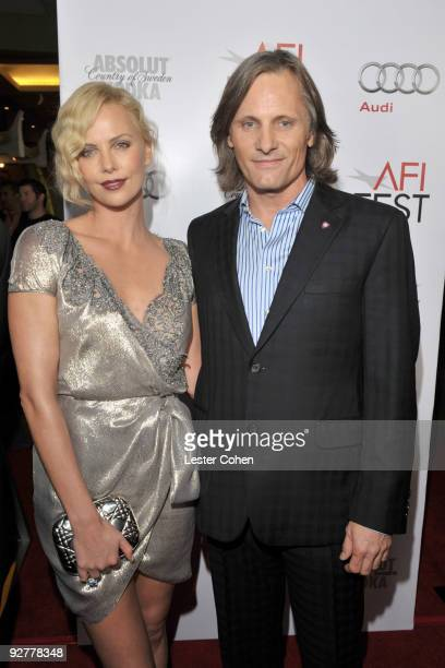 Actors Charlize Theron and Viggo Mortensen arrive at the AFI Fest 2009 gala screening of 'The Road' at Grauman's Chinese Theatre on November 4 2009...