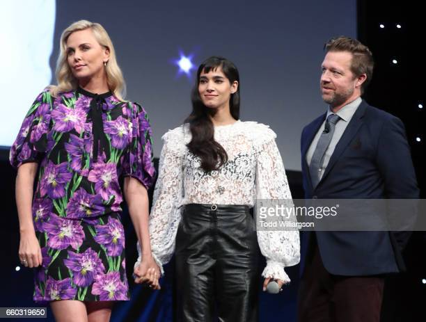 Actors Charlize Theron Sofia Boutella and director David Leitch speak onstage at CinemaCon 2017 Focus Features Celebrating 15 Years and a Bright...