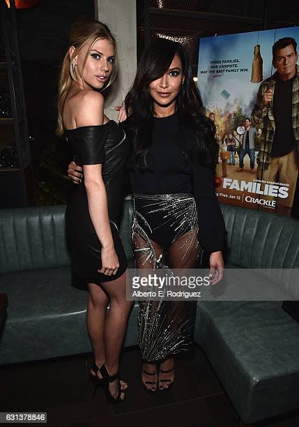 Actors Charlotte McKinney and Naya Rivera attend the premiere party for Crackle's 'Mad Families' at Catch on January 9 2017 in West Hollywood...
