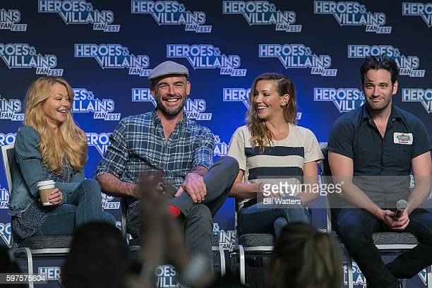 Actors Charlotte Ross Paul Blackthorne Katie Cassidy and Colin Donnell attend the Archer panel during Heroes and Villains Fan Fest at San Jose...