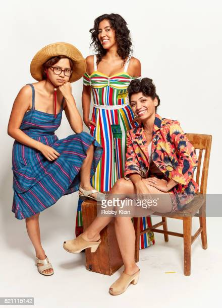 Actors Charlyne Yi Stephanie Beatriz and Jasika Nicole from Amazon's 'Danger Eggs' pose for a portrait during ComicCon 2017 at Hard Rock Hotel San...