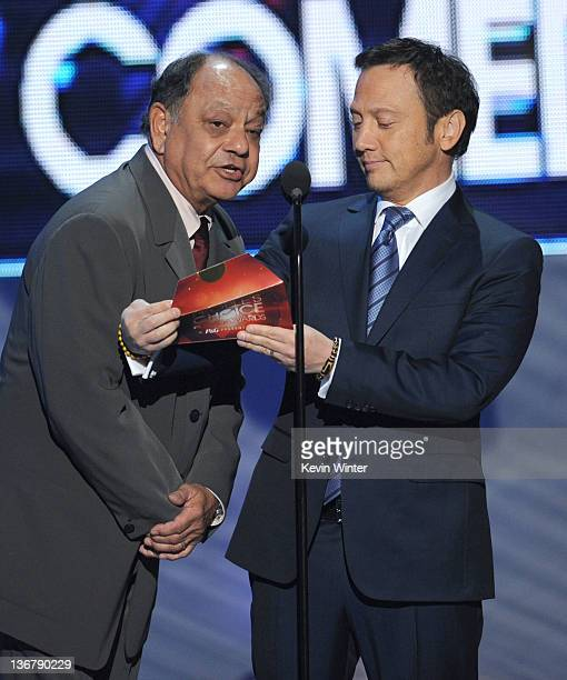 Actors Cheech Marin and Rob Schneider speak onstage at the 2012 People's Choice Awards at Nokia Theatre LA Live on January 11 2012 in Los Angeles...