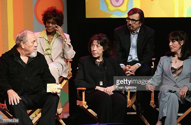 Actors Chelsea Brown Gary Owens George Schlatter Lily Tomlin and Barbara Feldon attend the 'Laugh In' cast reunion at the Mohegan Sun 10th...