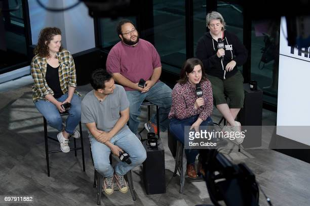 Actors Chelsea Clarke Zach Cherry Shannon O'Neill Michael Cruz Kayne and Abra Tabak of the Upright Citizens Brigade Theatre attend the Build Series...