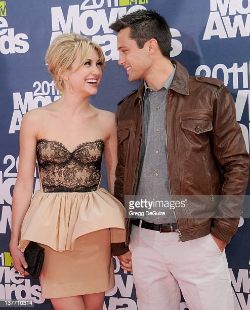 Actors Chelsea Kane and Stephen Colletti arrive at the 2011 MTV Movie Awards at the Gibson Amphitheatre on June 5 2011 in Universal City California