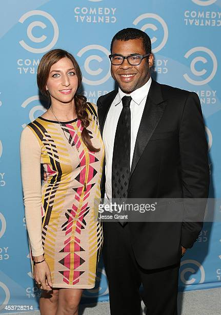 Actors Chelsea Peretti and Jordan Peele attend the Comedy Central Creative Arts Emmy Party at Boulevard 3 on August 16 2014 in Hollywood California