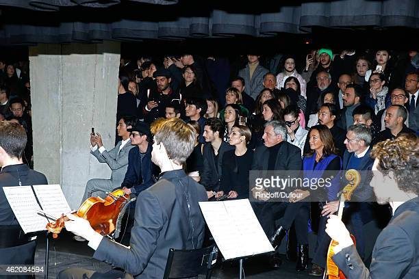 Actors Chen Kun Jeremie Laheurte Pierre Niney Noomi Rapace CEO Dior Sidney Toledano his wife Katia Toledano and actor Lambert Wilson attend the Dior...