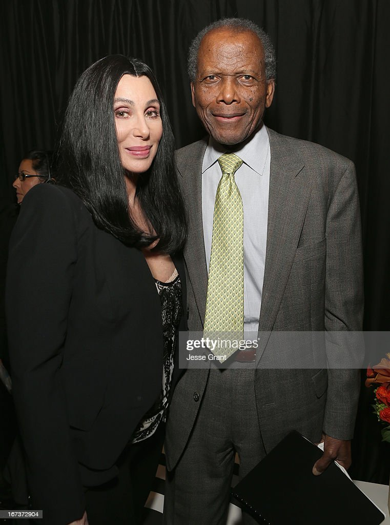 Actors Cher and <a gi-track='captionPersonalityLinkClicked' href=/galleries/search?phrase=Sidney+Poitier&family=editorial&specificpeople=94086 ng-click='$event.stopPropagation()'>Sidney Poitier</a> attend Target Presents AFI's Night at the Movies at ArcLight Cinemas on April 24, 2013 in Hollywood, California.