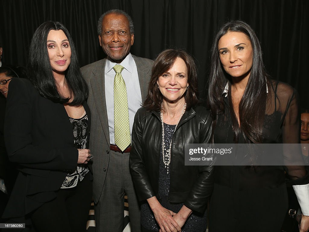 Actors Cher, <a gi-track='captionPersonalityLinkClicked' href=/galleries/search?phrase=Sidney+Poitier&family=editorial&specificpeople=94086 ng-click='$event.stopPropagation()'>Sidney Poitier</a>, <a gi-track='captionPersonalityLinkClicked' href=/galleries/search?phrase=Sally+Field&family=editorial&specificpeople=206350 ng-click='$event.stopPropagation()'>Sally Field</a> and <a gi-track='captionPersonalityLinkClicked' href=/galleries/search?phrase=Demi+Moore&family=editorial&specificpeople=202121 ng-click='$event.stopPropagation()'>Demi Moore</a> attend Target Presents AFI's Night at the Movies at ArcLight Cinemas on April 24, 2013 in Hollywood, California.