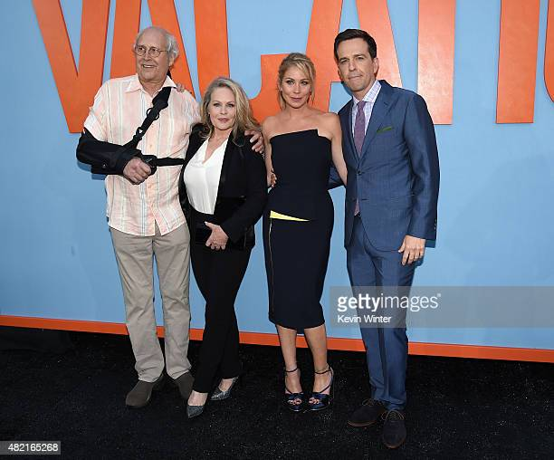 Actors Chevy Chase Beverly D'Angelo Christina Applegate and Ed Helms attend the premiere of Warner Bros Pictures 'Vacation' at Regency Village...