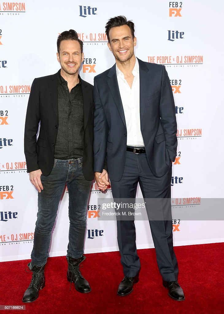 Actors Cheyenne Jackson and Jason Landau attend the premiere of FX's American Crime Story The People V OJ Simpson at Westwood Village Theatre on...