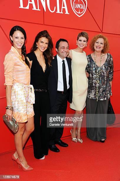 Actors Chiara Martegiani Monica Barladeanu Andrea Osvart director Fabrizio Cattani and actress Marina Pennafina attend the 'Maternity Blues' Premiere...