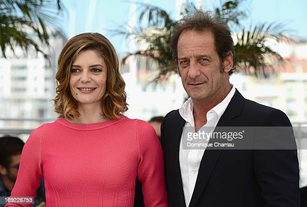 Actors Chiara Mastroianni and Vincent Lindon attend the photocall for 'Les Salauds' during The 66th Annual Cannes Film Festival at the Palais des...