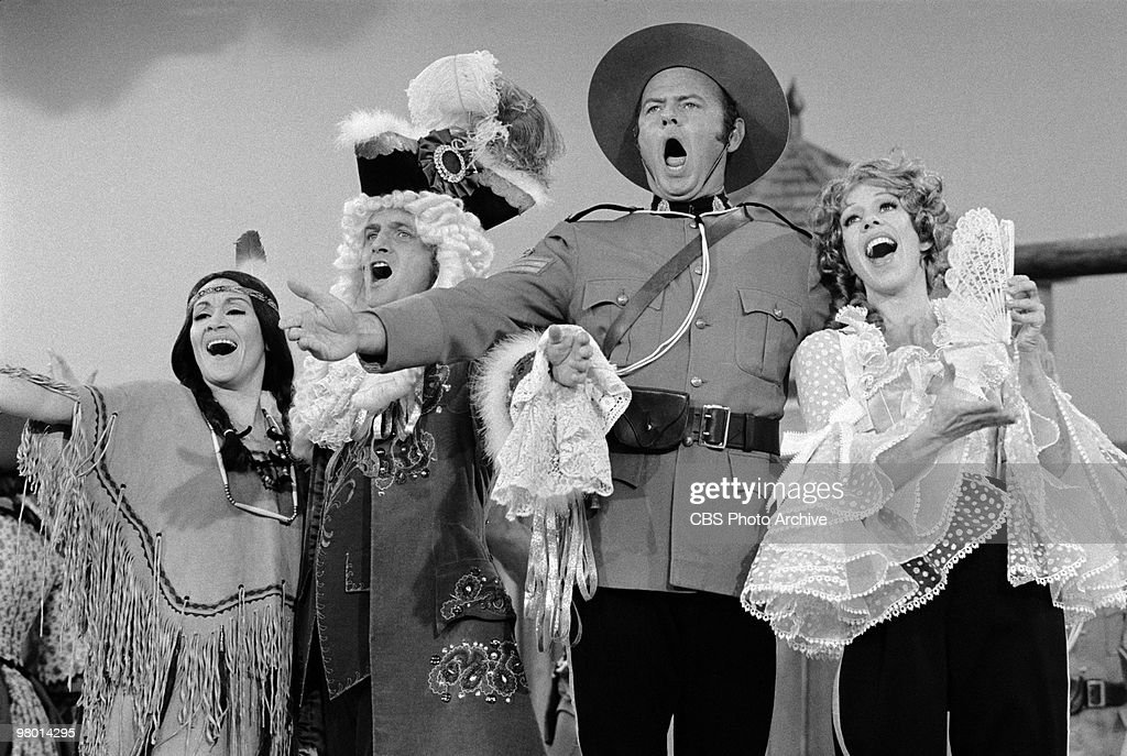 Actors Chita Rivera Bob Newhart Harvey Korman and Carol Burnett perform in a scene from 'The Carol Burnett Show' which was filmed on February 19 1971...