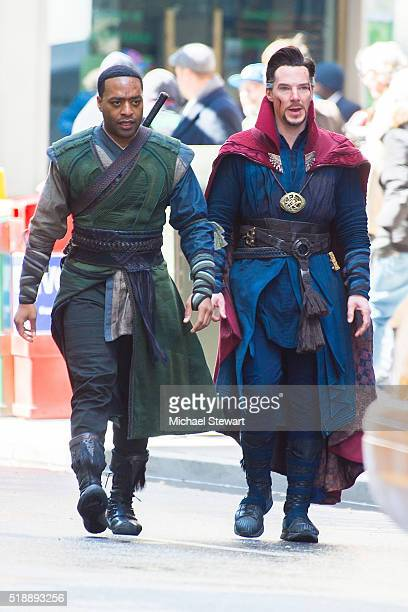 Actors Chiwetel Ejiofor and Benedict Cumberbatch are seen filming 'Doctor Strange' on April 3 2016 in New York City