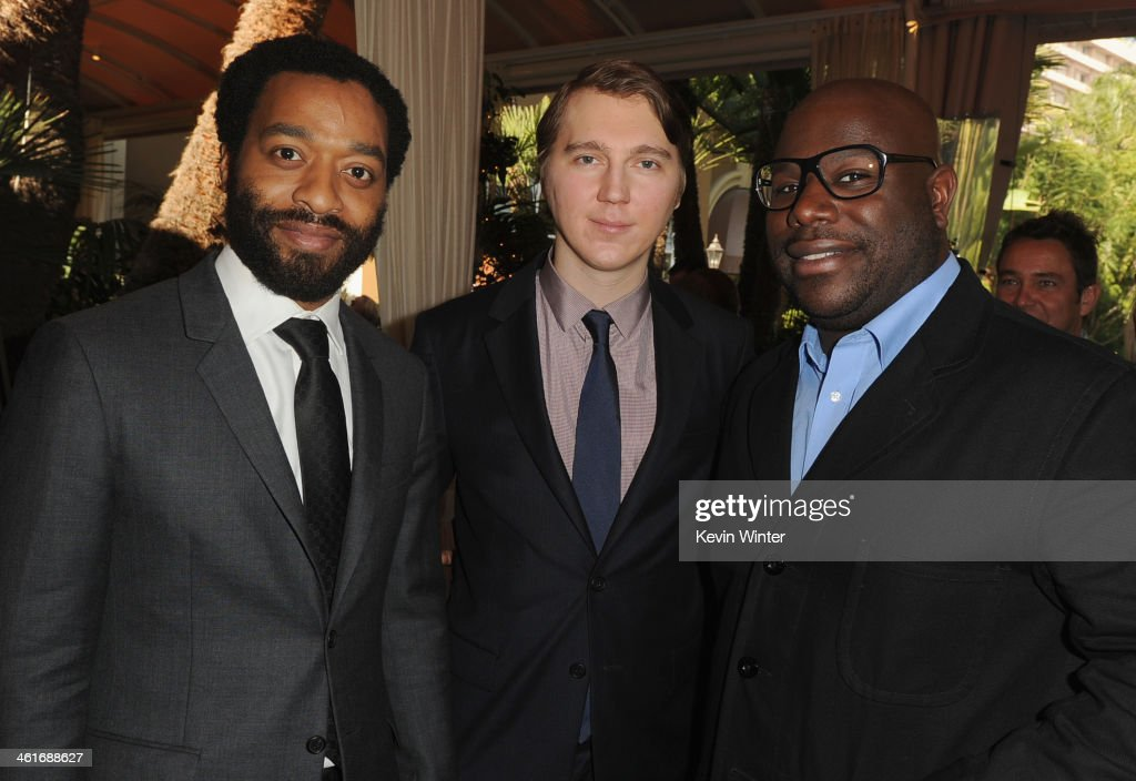 Actors Chiwetel Ejiofor and Paul Dano and director Steve McQueen attend the 14th annual AFI Awards Luncheon at the Four Seasons Hotel Beverly Hills on January 10, 2014 in Beverly Hills, California.