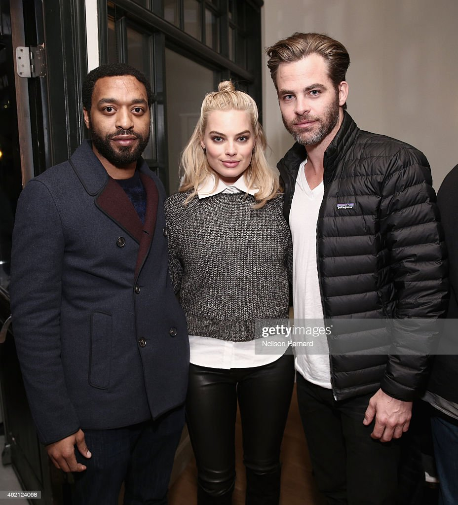 Actors Chiwetel Ejiofor Margot Robbie and Chris Pine attend the 'Z for Zachariah' Dinner at The Acura Studio on January 24 2015 in Park City Utah