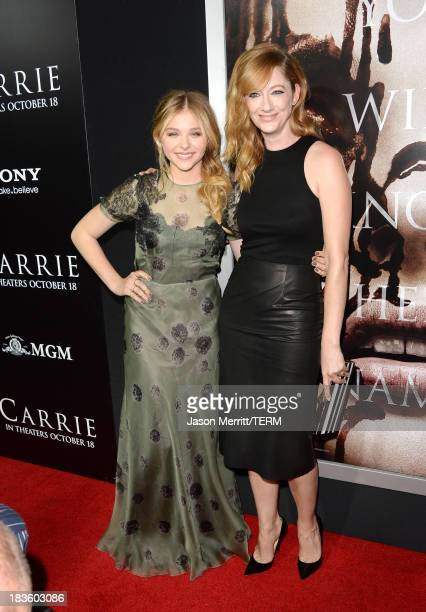 Actors Chloë Grace Moretz and Judy Greer arrive at the premiere of MetroGoldwynMayer Pictures Screen Gems' 'Carrie' at ArcLight Cinemas on October 7...