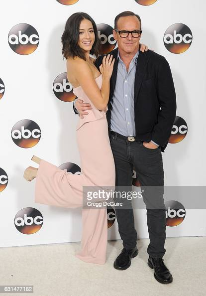 Actors Chloe Bennet and Clark Gregg arrive at the 2017 Winter TCA Tour Disney/ABC at the Langham Hotel on January 10 2017 in Pasadena California