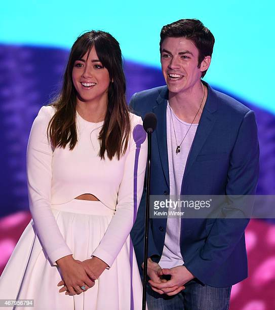 Actors Chloe Bennet and Grant Gustin speak onstage during Nickelodeon's 28th Annual Kids' Choice Awards held at The Forum on March 28 2015 in...