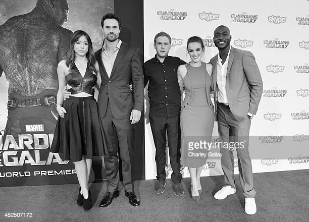 Actors Chloe Bennet Brett Dalton Iain De Caestecker Elizabeth Henstridge and BJ Britt attend The World Premiere of Marvel's epic space adventure...