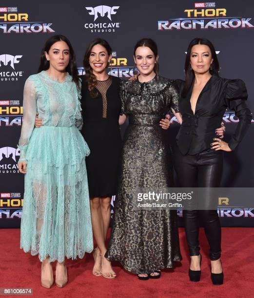 Actors Chloe Bennet Natalia CordovaBuckley Elizabeth Henstridge and MingNa Wen arrive at the premiere of Disney and Marvel's 'Thor Ragnarok' at the...