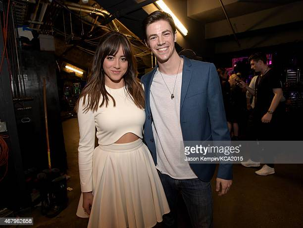 Actors Chloe Bennett and Grant Gustin attend Nickelodeon's 28th Annual Kids' Choice Awards held at The Forum on March 28 2015 in Inglewood California