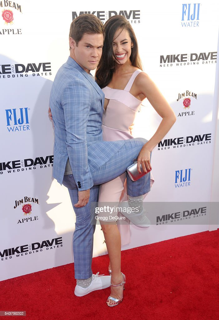 Actors Chloe Bridges and Adam DeVine arrive at the premiere of 20th Century Fox's 'Mike And Dave Need Wedding Dates' at the Cinerama Dome at ArcLight...