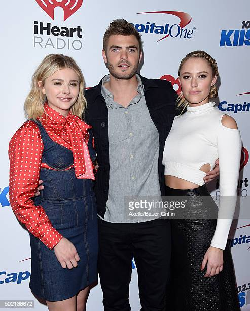 Actors Chloe Grace Moretz Alex Roe and Maika Monroe arrive at 1027 KIIS FM's Jingle Ball 2015 presented by Capital One at Staples Center on December...