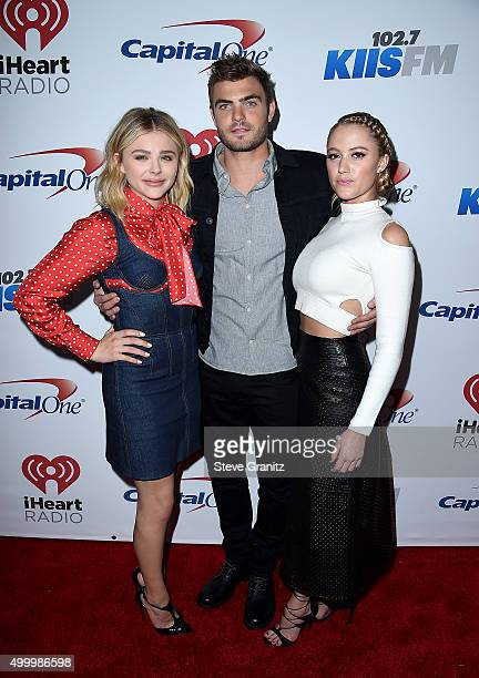 Actors Chloe Grace Moretz Alex Roe and Maika Monroe attend 1027 KIIS FM's Jingle Ball 2015 Presented by Capital One at STAPLES CENTER on December 4...