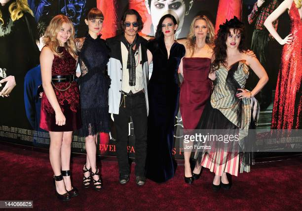 Actors Chloe Moretz Bella Heathcote Johnny Depp Eva Green Michelle Pfeiffer and Helena Bonham Carter attend the 'Dark Shadows' European film premiere...
