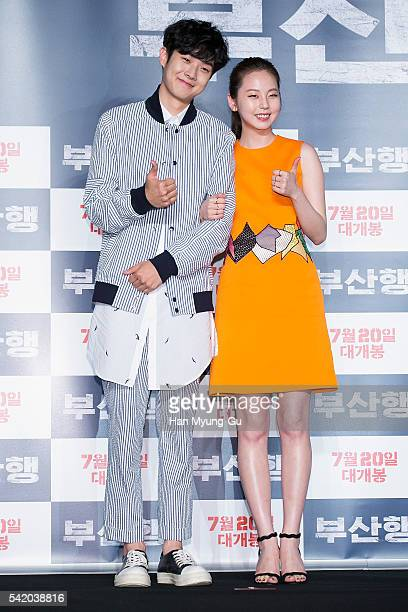 Actors Choi WooShik and Ahn SoHee attend the press conference for 'Train To Busan' at Nine Tree on June 21 2016 in Seoul South Korea The film will on...