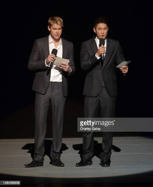 Actors Chord Overstreet and Harry Shum Jr speak during the 2nd Annual Dizzy Feet Foundation's Celebration of Dance Gala at Dorothy Chandler Pavilion...