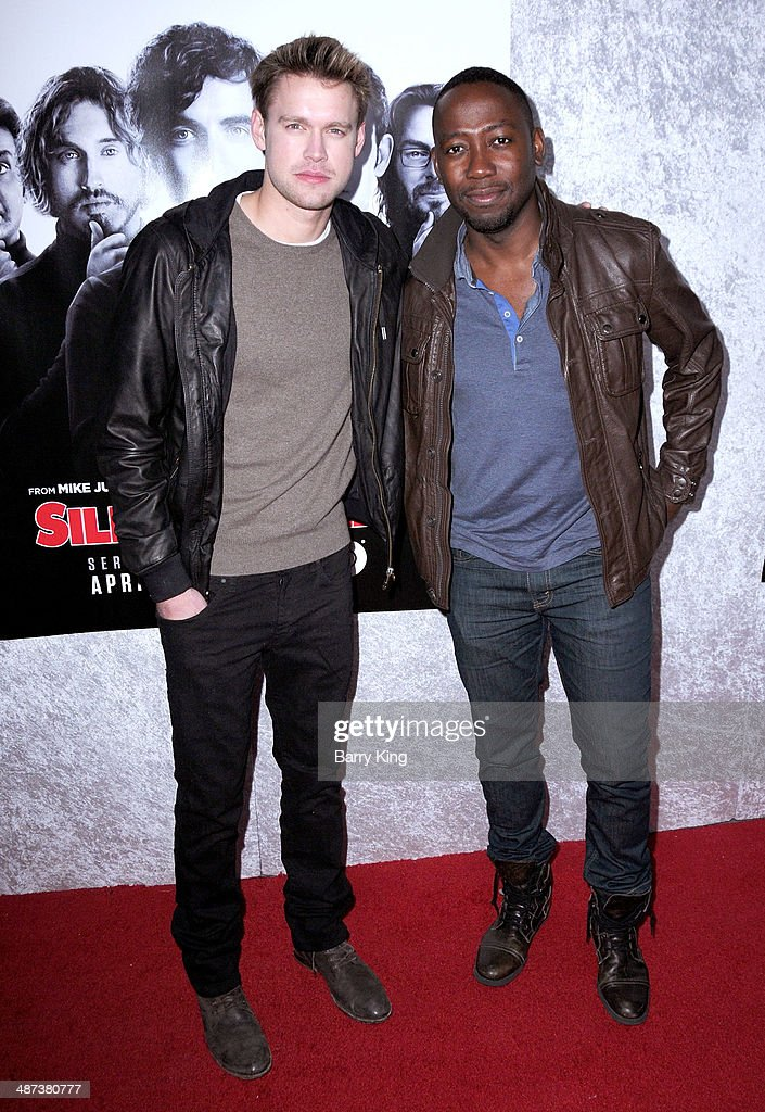 Actors Chord Overstreet and Lamorne Morris arrive at the premiere of 'Silicon Valley' on April 3, 2014 at Paramount Studios in Hollywood, California.
