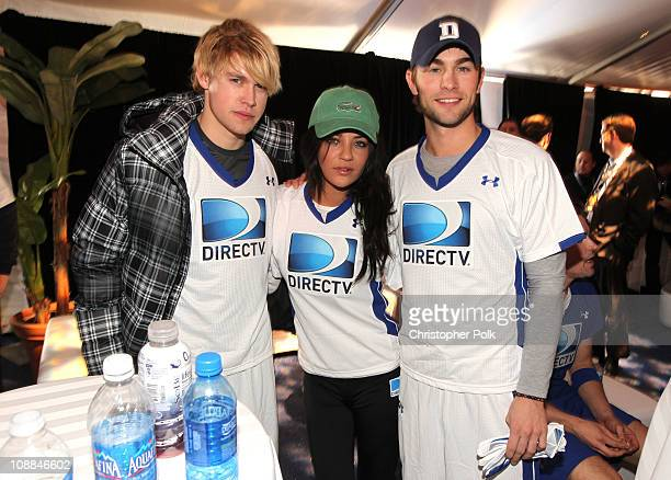 Actors Chord Overstreet Jessica Szohr and Chace Crawford arrive at DIRECTV's Fifth Annual Celebrity Beach Bowl at Victory Park on February 5 2011 in...
