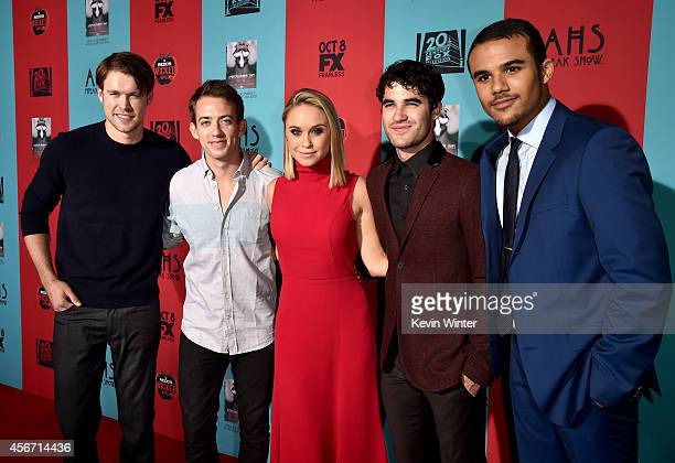 Actors Chord Overstreet Kevin McHale Becca Tobin Darren Criss and Jacob Artist attend the premiere screening of FX's 'American Horror Story Freak...