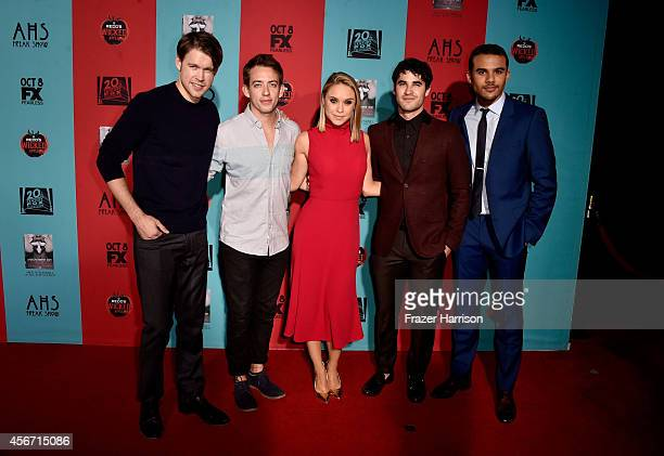 Actors Chord Overstreet Kevin McHale Becca Tobin Darren Criss and Jacob Artist attend FX's 'American Horror Story Freak Show' premiere screening at...