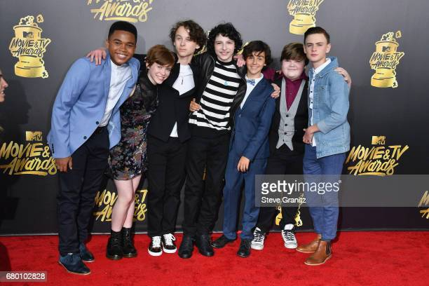 Actors Chosen Jacobs Sophia Lillis Wyatt Oleff Finn Wolfhard Jack Dylan Grazer Jeremy Ray Taylor and Jaeden Lieberher attend the 2017 MTV Movie and...